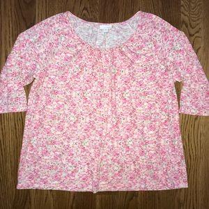 J. Jill Pink Floral Top Blouse Plus Size 1X